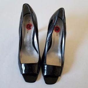 AK Anne Klein Womens Black Leather Slip On Shoes